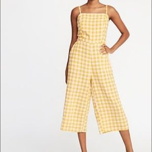Yellow Plaid Wide Leg Jumpsuit